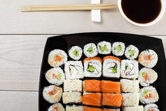 Großer Satz Sushi Stockfoto