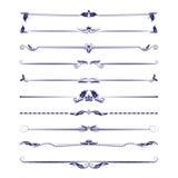Großer Satz Teiler Kalligraphische Gestaltungselemente des Vektors und Seitendekoration Lizenzfreies Stockbild