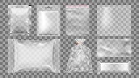 Großer Satz transparente leere Plastikverpackung Stockbild