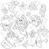 Großer Satz von netten Karikaturseetieren und von Meerjungfrau Stockbild