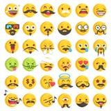 Großer Satz von 36 Schnurrbart emojis Stockfotos