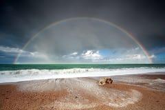 Großer schöner Regenbogen über Meereswogen Stockfotos
