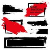 Großer Schmutzelementsatz Bürsten Sie Anschläge, Fahnen, fasst ein, spritzt plätschert Vektorillustration Schwarzes und Rot Lizenzfreie Stockfotos