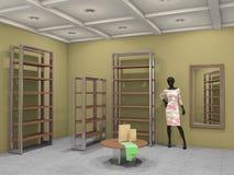 Großer Shop leer, Illustration 3d Lizenzfreies Stockfoto