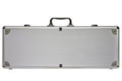 Großer silberner Metallaktenkoffer lokalisiert gegen einen weißen Hintergrund Lizenzfreies Stockbild