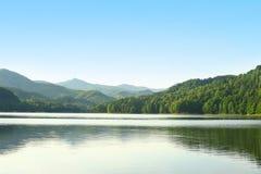 Großer Sommersee mit grünen Wäldern und Bergen Stockfotografie