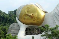 Großer stützender Buddha haben ein Goldgesicht Lizenzfreies Stockfoto