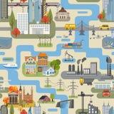 Großer Stadtplanschöpfer Nahtlose Musterkarte lizenzfreie abbildung