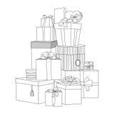 Großer Stapel von eingewickelten Geschenkboxen Schöner Kasten Getrennt auf Weiß Lokalisierte Vektorgeschenkillustration Bunte gra Stockfoto