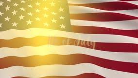 Großer Stoff von USA-Flagge und -aufschrift erscheint auf Juli 4. stock abbildung