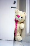 Großer Teddybär, der die Tür öffnet Stockfoto