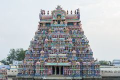 Großer Tempel-Turm Front View - Srirangam-Tempel stockbild