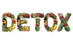 Großer Text des Detox vom Lebensmittel lizenzfreie stockfotos