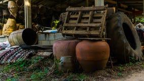 Großer Vase zwei im Hinterhof Stockbild