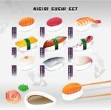 Großer Vektorillustrationssatz eines nigiri Sushis Japanische Nahrung Menüabdeckung mit Beschaffenheit Stockfotografie