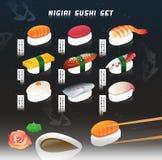 Großer Vektorillustrationssatz eines nigiri Sushis Japanische Nahrung Menüabdeckung mit kosmischem Hintergrund Lizenzfreies Stockbild