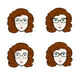 Großer Vektorsatz verschiedene Frauen in den modischen Modellen von Brillen Stockbilder