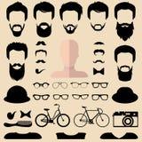 Großer Vektorsatz von kleiden oben Erbauer mit verschiedenen Mannhippie-Haarschnitten, Gläsern, Bart usw. Mann stellt Ikonenschöp stock abbildung