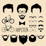 Großer Vektorsatz von kleiden oben Erbauer mit verschiedenen Mannhippie-Haarschnitten, Gläsern, Bart usw. Mann stellt Ikonenschöp lizenzfreie abbildung