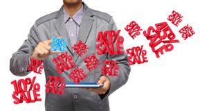 Großer Verkauf 3d in der Hand einen Berührungsflächen-PC anhalten Stockbilder