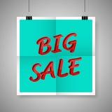 Großer Verkauf auf Plakat des leeren Papiers Stockfotografie