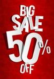 Großer Verkauf auf rotem Hintergrund Stockfotos