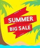 Großer Verkauf des Sommers auf gelbem Hintergrundvektorgeschäfts-Hintergrunddesign Stockfotografie