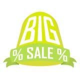 Großer Verkauf, grüner Zylinder über Band auf einem weißen Hintergrund Stockbild