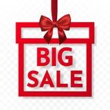 Großer Verkauf Helle Feriengeschenkkastenrahmenfahne, die mit rotem Band und seidigem Bogen auf transparentem Hintergrund hängt V lizenzfreie abbildung