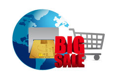 Großer Verkauf Kreditkarte- und Warenkorbgeschäft Stockfotos