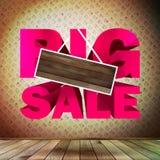 Großer Verkauf mit Holz für Kopienraum. Stockfotografie
