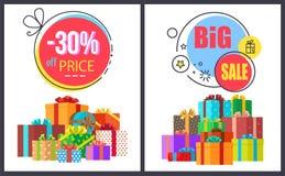 Großer Verkauf -30 weg von den runden Aufklebern mit den Geschenk-Ikonen eingestellt stock abbildung