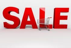 Großer Verkauf Wort des Rotes 3d mit Warenkorb auf weißem Hintergrund Lizenzfreies Stockfoto