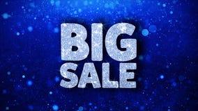 Großer Verkaufs-blaue Text-Wunsch-Partikel-Grüße, Einladung, Feier-Hintergrund