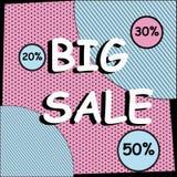 Großer Verkaufs-komischer Fahnen-Knall Art Halftone Style Lizenzfreie Stockfotos