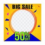 Großer Verkaufsblitz sale_03 des Social Media-Schablonenverkaufs lizenzfreie abbildung