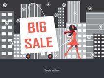 Großer Verkaufseinkaufstaschewinter stock abbildung