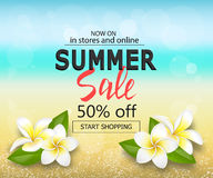 Großer Verkaufshintergrund des Sommers mit tropischen Blumen Reiseschablone mit unscharfem Effekt für Designfahne Lizenzfreie Stockfotos
