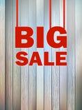 Großer Verkaufstext, auf hölzernem Hintergrund. + EPS10 Stockfoto