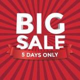Großer Verkaufsvektor mit rotem Hintergrund Stockbild