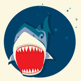 Großer weißer Haifisch Vector Karikaturabbildung Lizenzfreies Stockfoto