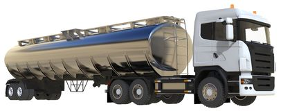 Großer weißer LKW-Tanker mit einem Poliermetallanhänger Ansichten von allen Seiten Abbildung 3D Stockfotografie