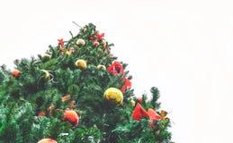 Großer Weihnachtsbaum im Freien gegen eine weiße Himmelansicht von unterhalb stockfoto