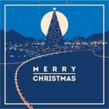 Großer Weihnachtsbaum mit Stadt beleuchtet minimalistic Vektorillustration lizenzfreie abbildung