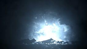 Großer Wolfsrudel, der durch einen Schnee-Sturm läuft stock footage