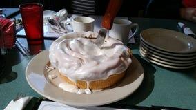 Großer Zimtgebäckkuchen, der Lebensmittelnachtischvergaser weißes meme delish Familie bereift lizenzfreies stockbild