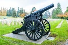Großes altes Gewehr im ernsten Yard in der Militärzone Stockbilder