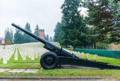 Großes altes Gewehr im ernsten Yard in der Militärzone Lizenzfreie Stockfotografie