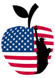Großes Apfelfreiheitsstatue Stockbild
