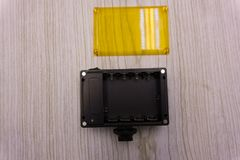 Großes artdeco Licht der grellen Kamera schönes Blau Stockbild